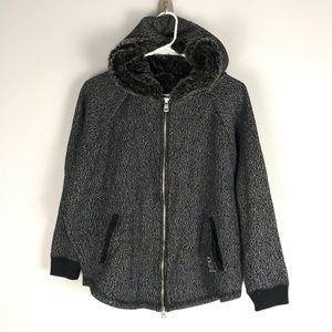 DKNY JEANS marled sweater jacket black fur hood
